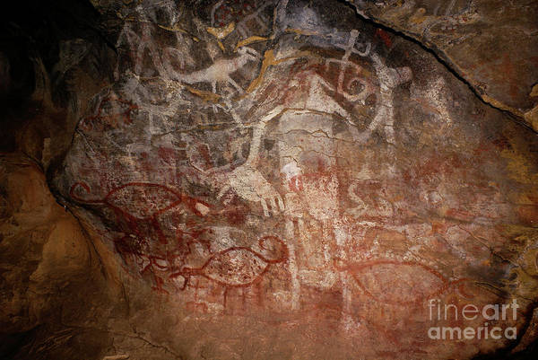 Photograph - Rock Paintings In Paja Colorada Cave Bolivia by James Brunker