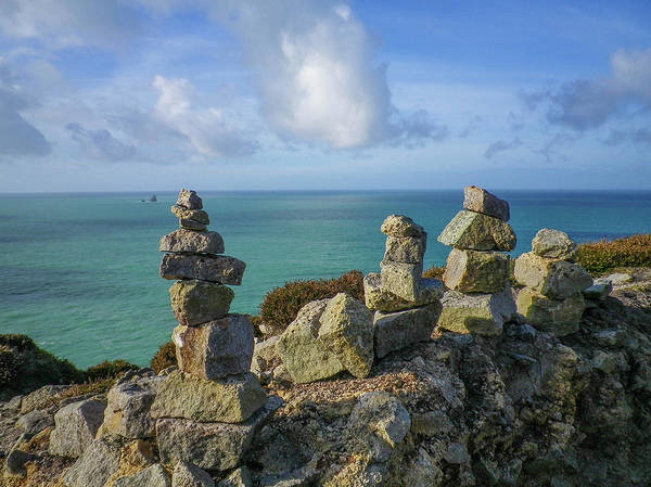 Wall Art - Photograph - Rock Piles Cligga Head Mine Cornwall by Richard Brookes