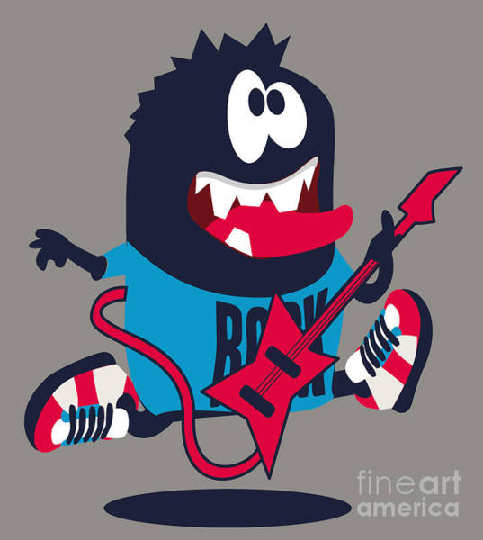 Wall Art - Digital Art - Rock, Rocker  Monster by Braingraph