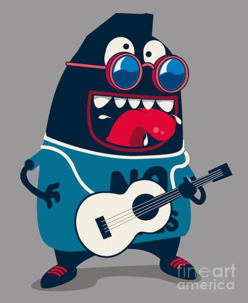 Wall Art - Digital Art - Rock Star Monster, Guitar by Braingraph