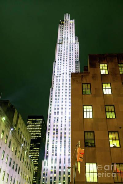 Photograph - Rockefeller Center At Night New York City by John Rizzuto