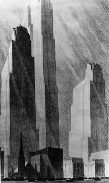 Pencil Drawing Photograph - Rockefeller Centre by Mpi