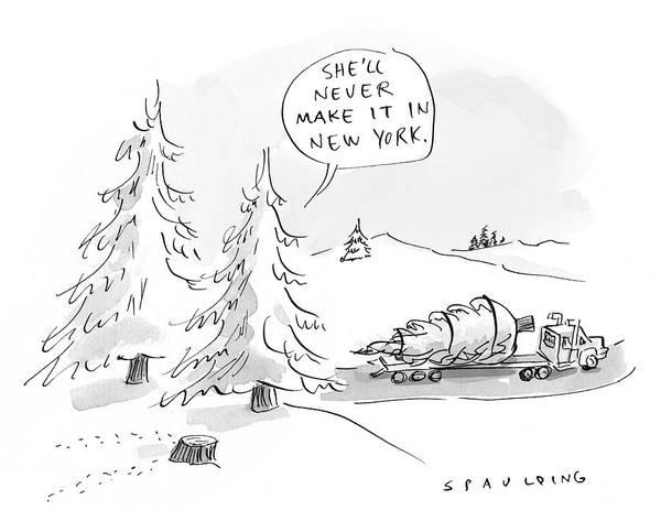 Drawing - Rockefeller Christmas Tree by Trevor Spaulding