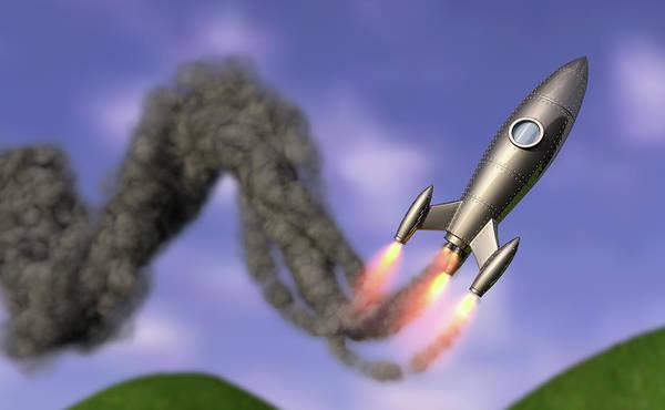 Wall Art - Photograph - Rocket Leaving Zigzag Smoke Trail by Ikon Images