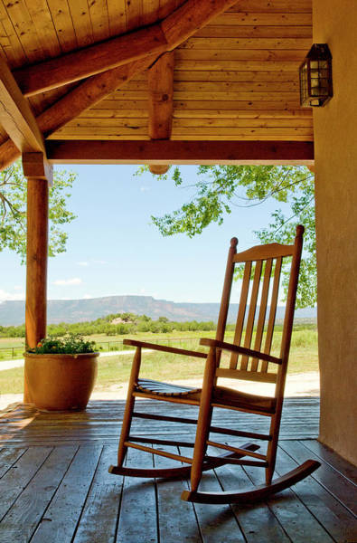 Ranch Photograph - Rocking Chair At Ranch House Porch by Nicolas Russell