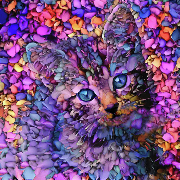 Digital Art - Rocko The Purple Tabby Kitten by Peggy Collins