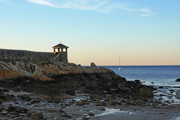 Photograph - Rockport Front Beach Sunset Rockport Ma Golden Glow by Toby McGuire