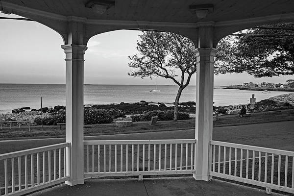 Photograph - Rockport Ma Back Beach From Bandstand At Sunset Rockport Ma Black And White by Toby McGuire
