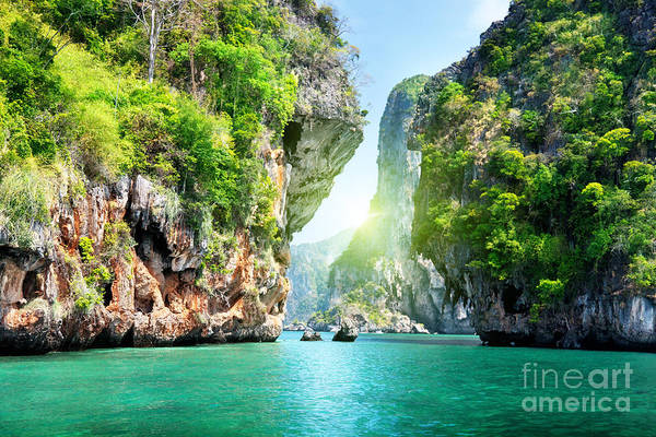 Wall Art - Photograph - Rocks And Sea In Krabi Thailand by Esb Professional