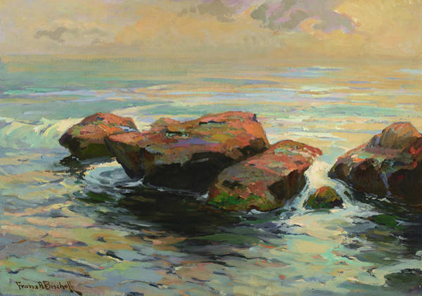 Wall Art - Painting - Rocks And Surf Glistening by Franz Arthur Bischoff