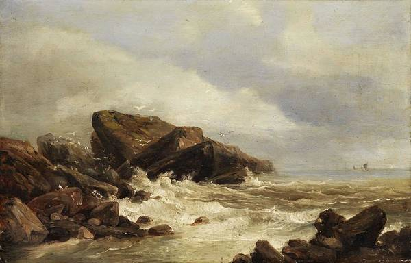 Wall Art - Painting - Rocks In The Surf Coast  by Andreas Achenbach