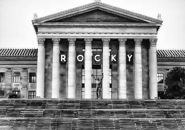 Photograph - Rocky Balboa On The Art Museum Steps In Black And White by Bill Cannon