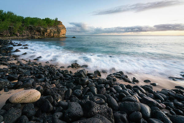 Photograph - Rocky Beach In Kauai At Sunset by James Udall