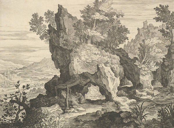 Relief - Rocky Landscape With St. Jerome by Aegidius Sadeler