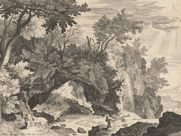 Wall Art - Relief - Rocky Landscape With The Stigmatisation Of Saint Francis by Aegidius Sadeler