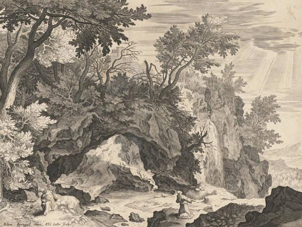 Relief - Rocky Landscape With The Stigmatisation Of Saint Francis by Aegidius Sadeler