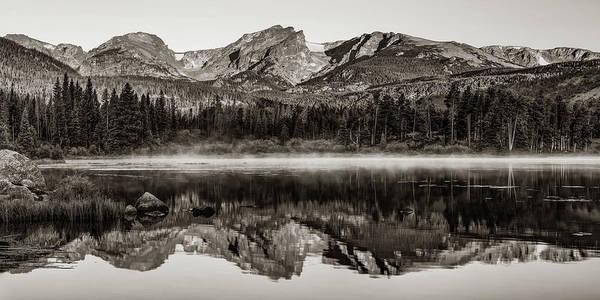 Wall Art - Photograph - Rocky Mountain And Sprague Lake Landscape Panorama - Colorado Sepia by Gregory Ballos