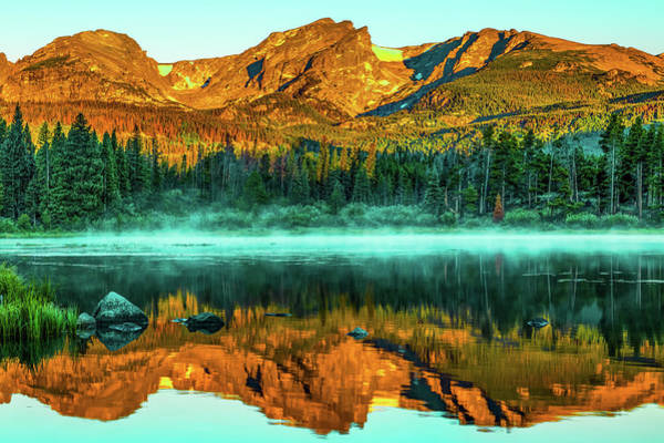 Photograph - Rocky Mountain Light Over Smoky Sprague Lake Reflections by Gregory Ballos
