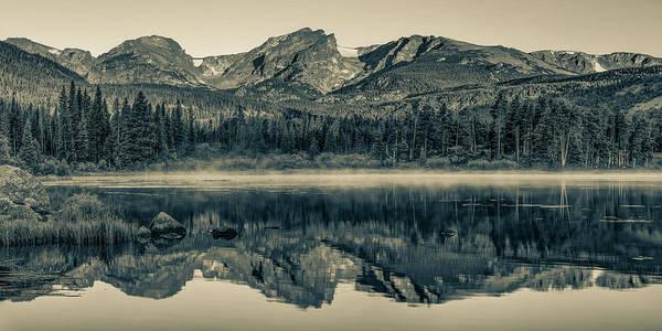 Wall Art - Photograph - Rocky Mountain National Park Morning Panorama - Estes Park Colorado In Sepia by Gregory Ballos