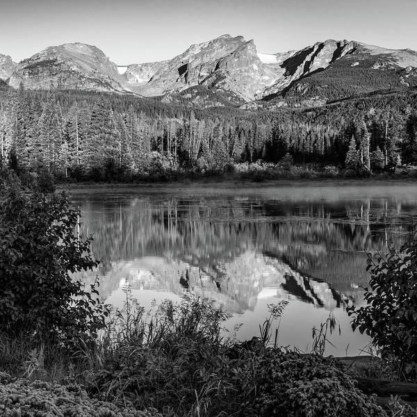 Wall Art - Photograph - Rocky Mountain Peaks In Monochrome - Estes Park Colorado 1x1 by Gregory Ballos