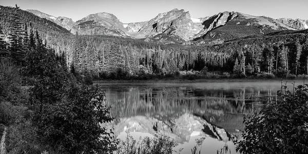 Wall Art - Photograph - Rocky Mountain Peaks In Monochrome Panoramic - Estes Park Colorado by Gregory Ballos