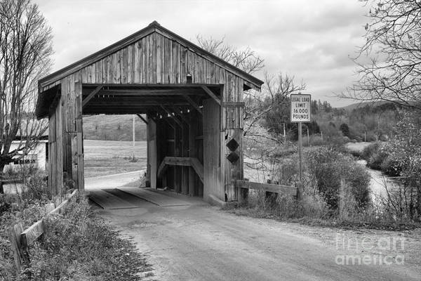 Photograph - Rocky Road Covered Bridge Black And White by Adam Jewell