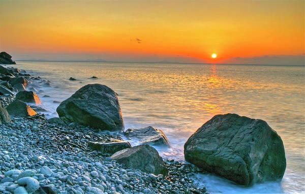 Photograph - Rocky Shoreline At Sunset by Kurosaki San