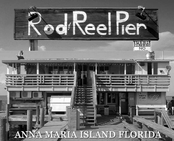 Wall Art - Photograph - Rod And Reel Pier Poster Bw by David Lee Thompson