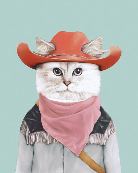 Animals In Clothes Wall Art - Painting - Rodeo Cat by Animal Crew