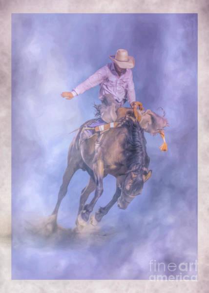 Bucking Bronco Digital Art - Rodeo Cowboy Bronco Busting by Randy Steele