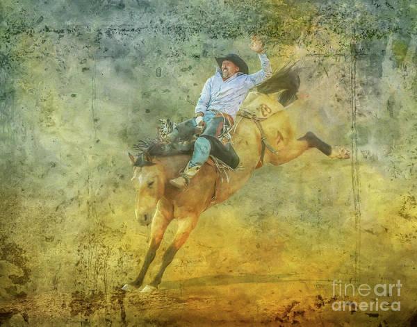 Bucking Bronco Digital Art - Rodeo Cowboy Bronco Riding Full Ride by Randy Steele