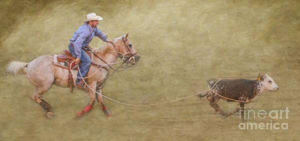 Bucking Bronco Digital Art - Rodeo Event Calf Roping by Randy Steele
