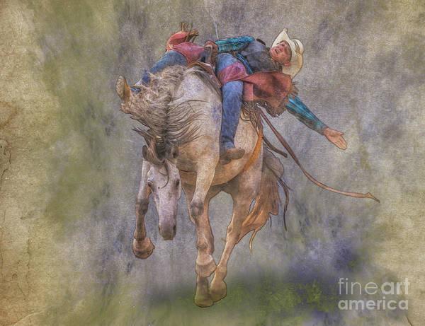 Bucking Bronco Digital Art - Rodeo Rider Bronco Busting by Randy Steele