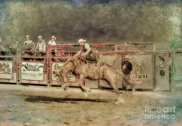 Bucking Bronco Digital Art - Rodeo Rider Bronco Busting Sepia Two by Randy Steele