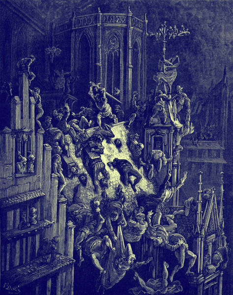 Destructive Painting - Rodomont Slays People In Paris by Gustave Dore