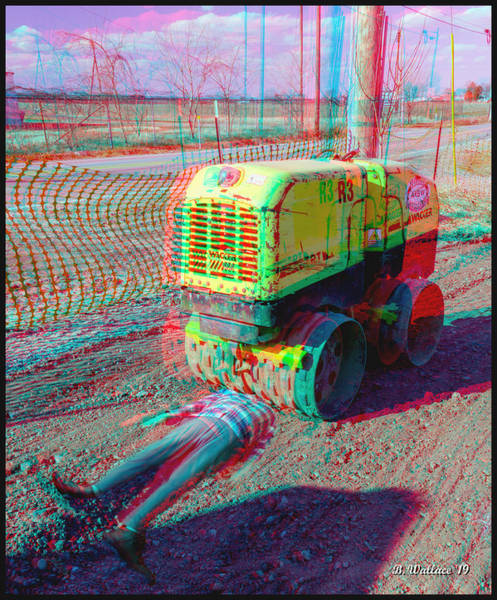 Stereoscopy Digital Art - Roll Me Over 3d Stereo Anaglyph by Brian Wallace
