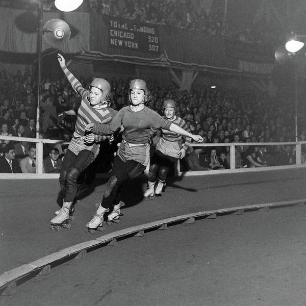 Wall Art - Photograph - Roller Skating Derby Races by George Skadding