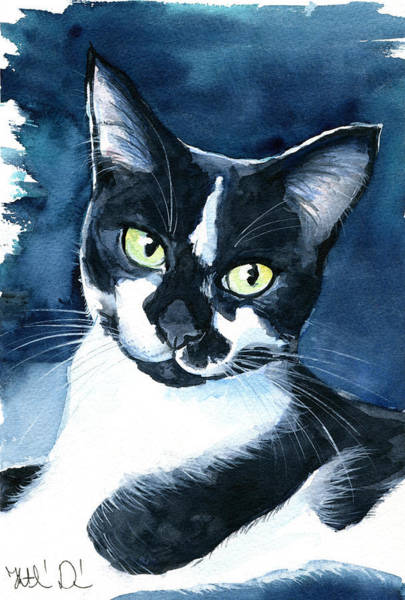 Rollie Tuxedo Cat Painting Art Print