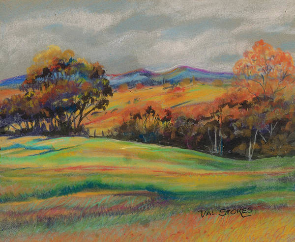 Pastel - Rolling Hills by Val Stokes