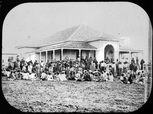 Courthouse Painting - Roma Court House Blanket Distribution Day  24 May 1880 by Celestial Images