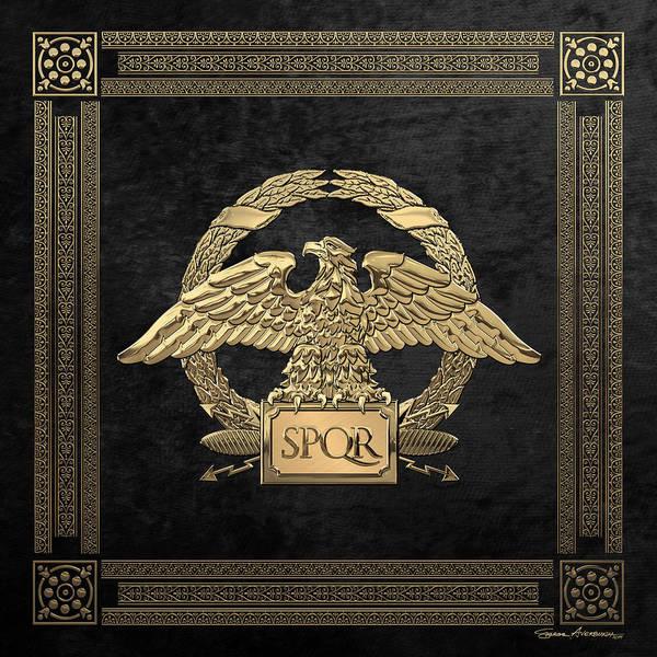 Digital Art - Roman Empire - Gold Roman Imperial Eagle Over Black Velvet by Serge Averbukh