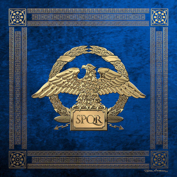 Digital Art - Roman Empire - Gold Roman Imperial Eagle Over Blue Velvet by Serge Averbukh