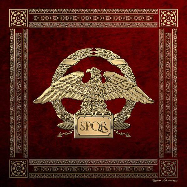 Digital Art - Roman Empire - Gold Roman Imperial Eagle Over Red Velvet by Serge Averbukh