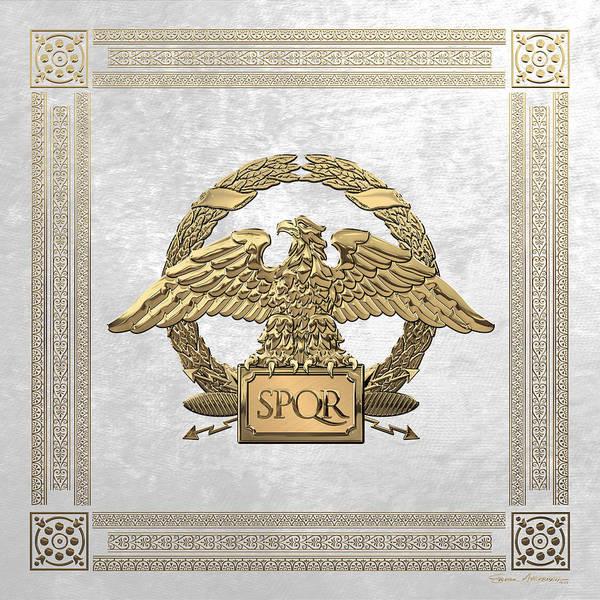 Digital Art - Roman Empire - Gold Roman Imperial Eagle Over White Velvet by Serge Averbukh
