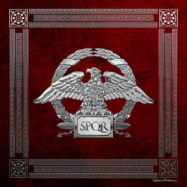 Digital Art - Roman Empire - Silver Roman Imperial Eagle Over Red Velvet by Serge Averbukh