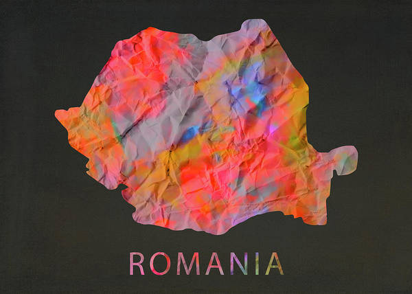 Wall Art - Mixed Media - Romania Tie Dye Country Map by Design Turnpike