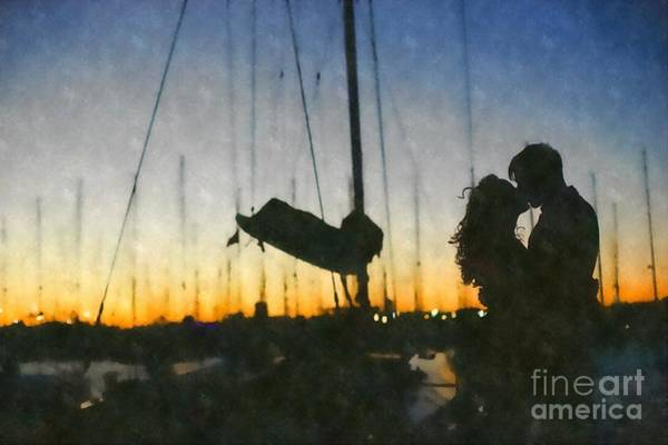 Painting - Romantic Couple In Love Celebrating Hugging Each Other, Love In A Harbor by Joaquin Corbalan