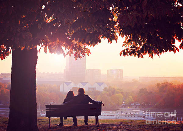 Romantic Couple On A Bench By The River Art Print