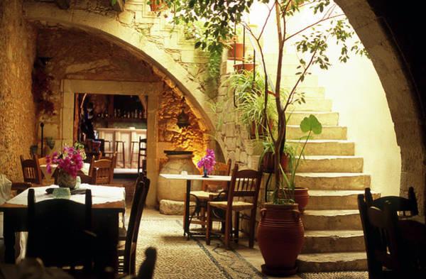 Greece Photograph - Romantic Restaurant Interior In Greece by Domin domin