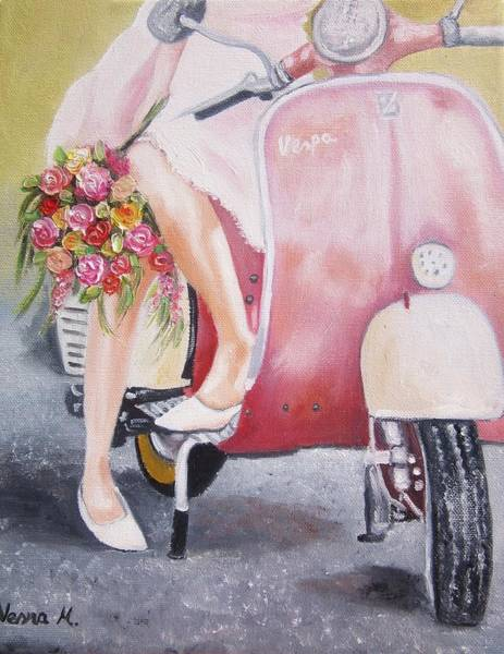Wall Art - Painting - Romantic Ride by Vesna Martinjak
